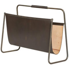 Carl Auböck Large Leather Magazine Rack