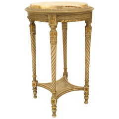 French Louis XVI Style '19th Century' Grey Painted End Table