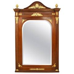 French Empire Style '19th-20th Century' Mahogany Wall Mirror