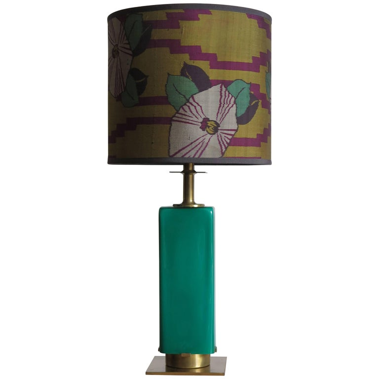 1950s Stilnovo Midcentury Modern Italian Glass and Brass Table Lamp Shade