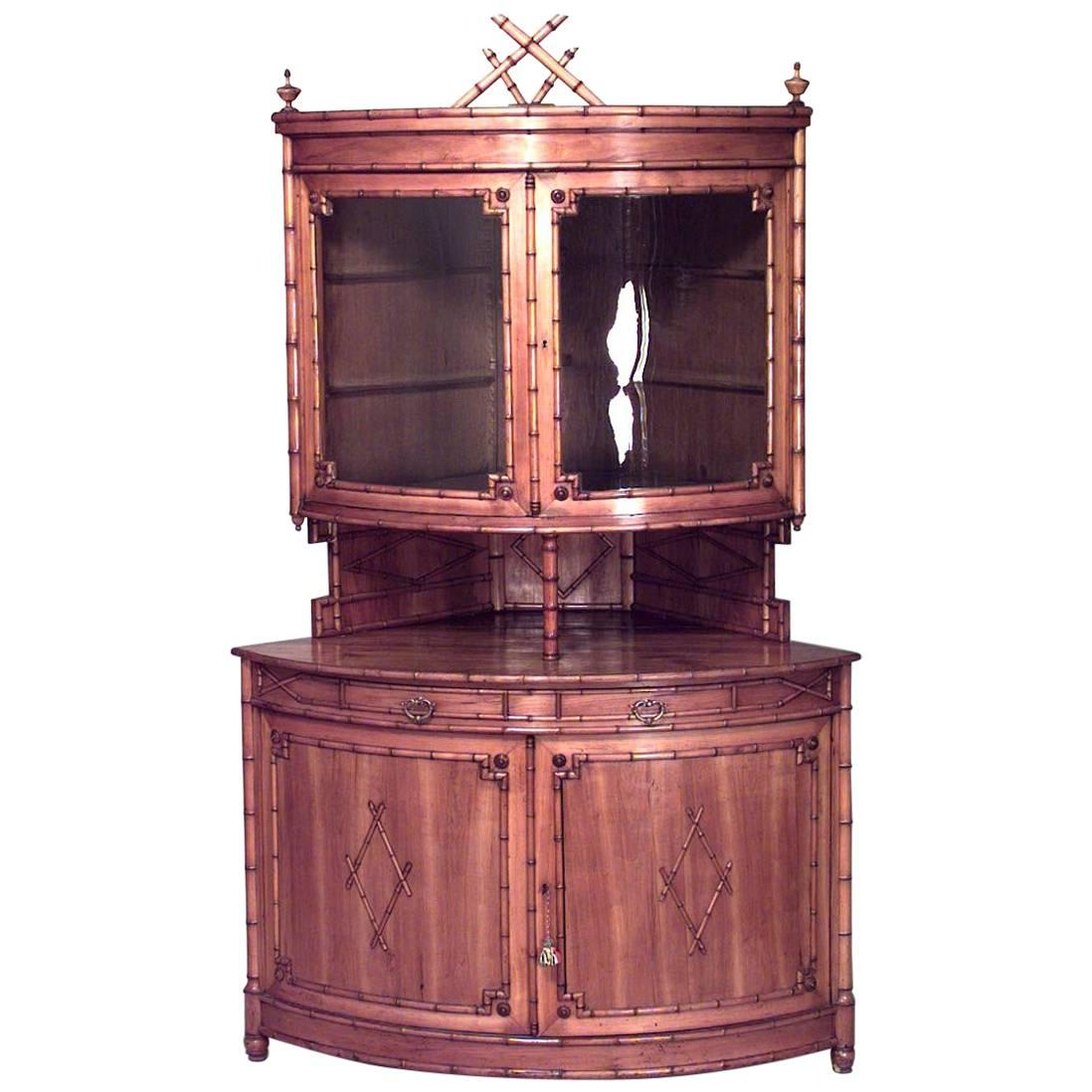 Superbe French Victorian Faux Bamboo Maple Corner Cabinet For Sale