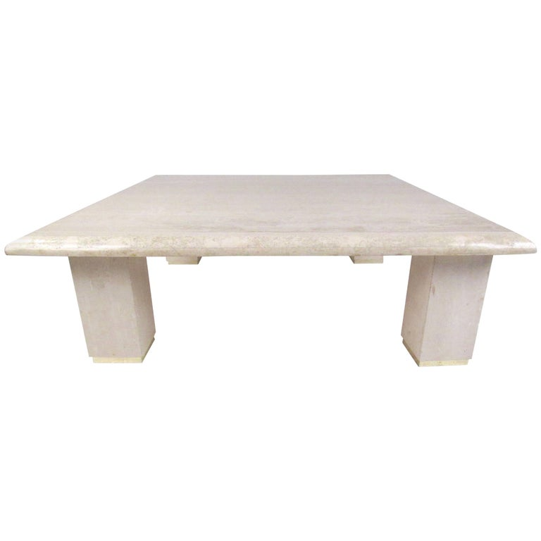 Large Italian Modern Travertine Coffee Table