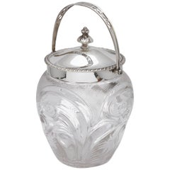 Edwardian Sterling Silver-Mounted Cut Glass Biscuit Barrel or Ice Bucket