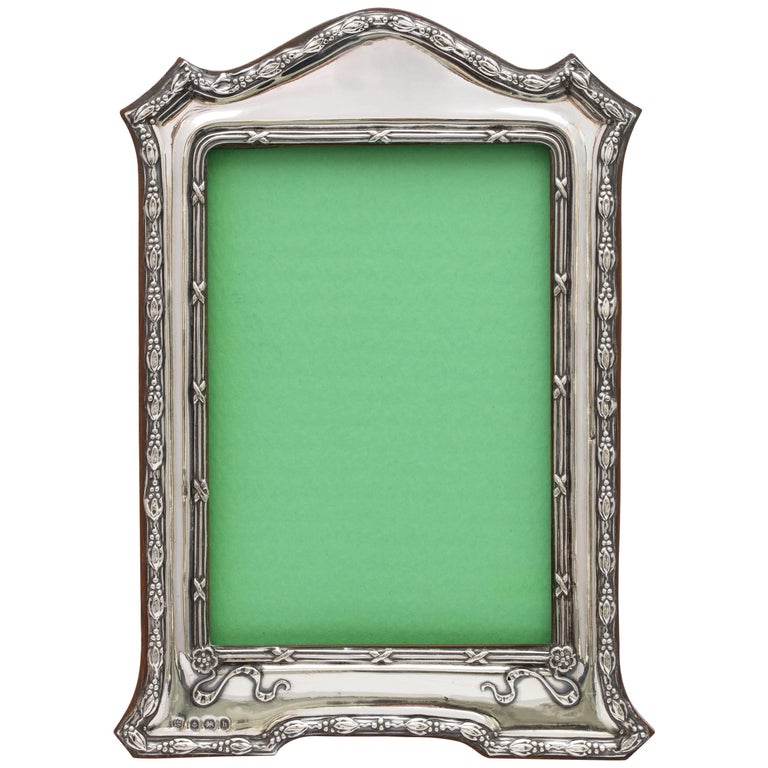Edwardian Sterling Silver Footed Hump Top Picture Frame with Wood Back