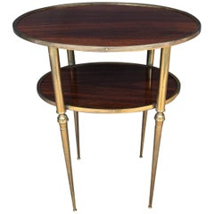 Mid-Century Modern Italian Palisander and Brass Side Table