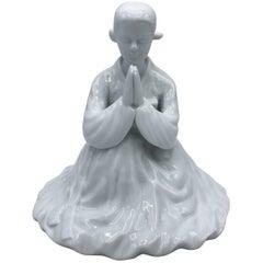 1960s Blanc de Chine Porcelain Praying Geisha in Kimono Sculpture