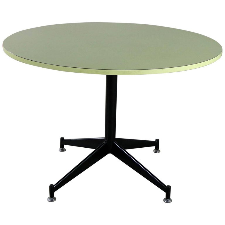 MCM Round Laminate Top Dining Table Steel Pedestal Base Style of Paul McCobb