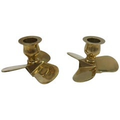 1970s Italian Brass Boat Propeller Candlestick Holders, Pair