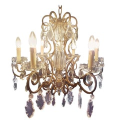 French Chandelier in Brass and Ribbed Glass