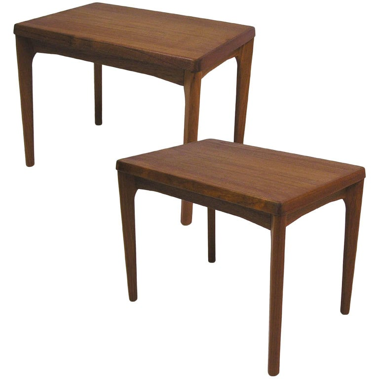 1960s Vejle Stole Danish Teak Side Tables by Henning Kjaernulf, Pair