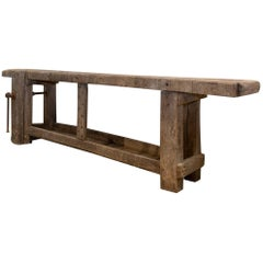 Long and Narrow Antique Industrial French Worktable Console