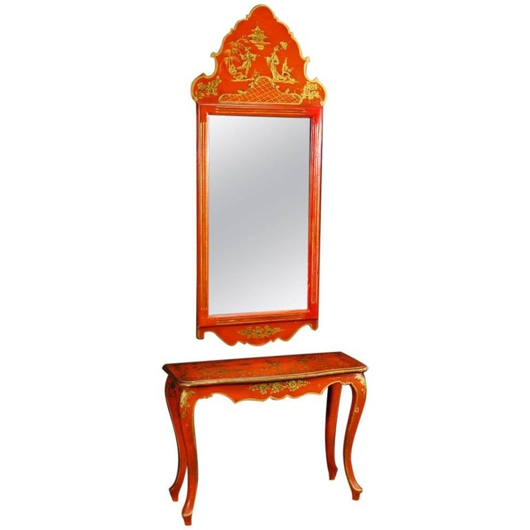 Spanish Console with Mirror in Lacquered and Gilded Chinoiserie Wood