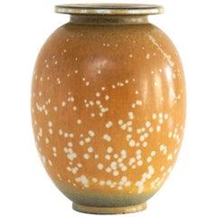 Swedish Midcentury Ceramic Vase with Spotted Glaze by Gunnar Nylund, Rorstrand