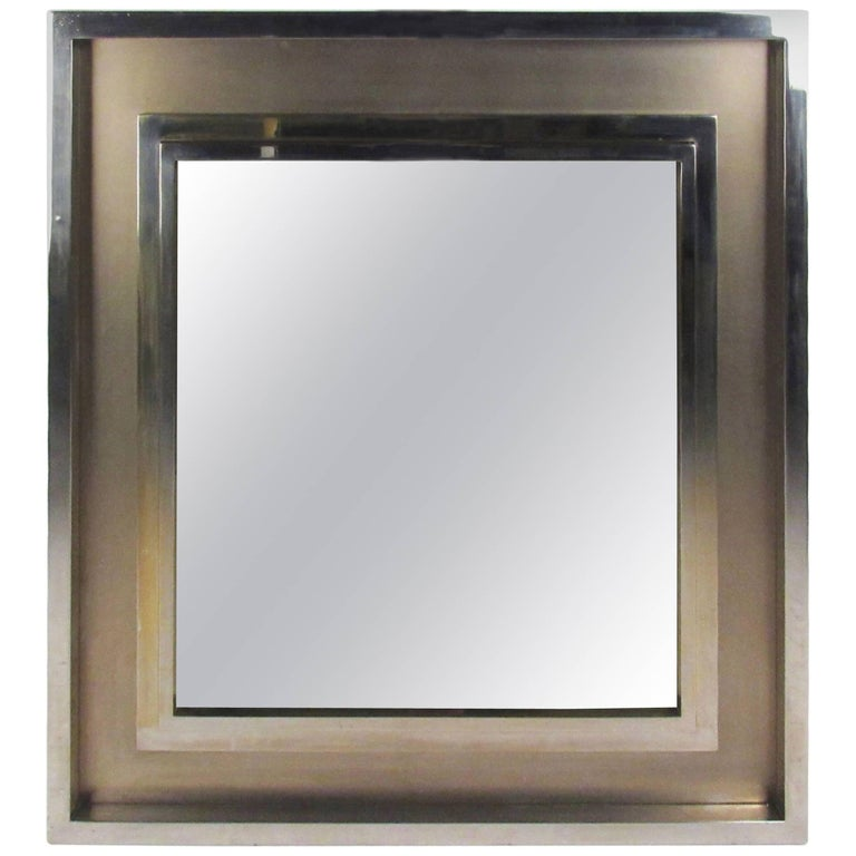Vintage Polished Chrome and Brass Mirror for Lorin Marsh