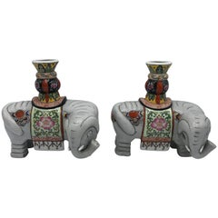 1960s Polychrome Ceramic Elephant Sculpture Candlestick Holders, Pair