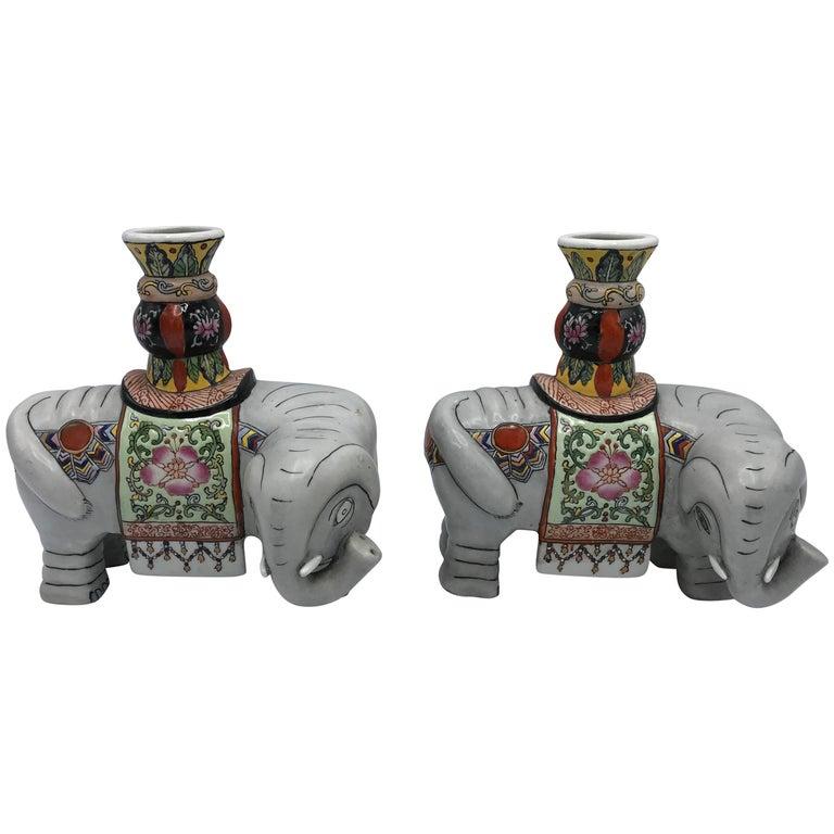 1960s Polychrome Ceramic Elephant Sculpture Candlestick Holders, Pair