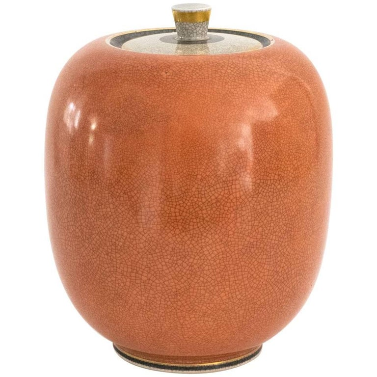 Large Royal Copenhagen Ceramic Jar in Coral and White 'Craquelure' Crackle Glaze