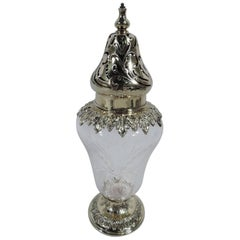 Antique American Gilt Sterling Silver and Crystal Sugar Shaker