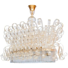 Italian Chandelier in Murano Glass, Transparent, 24 Karat Gold, Limited Edition