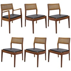 Jens Risom Walnut & Cane Back Dining Chairs Mid-Century Modern, Set of Six