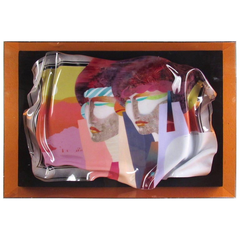 Vintage Modern Colored Glass Wall Art, Signed, circa 1986
