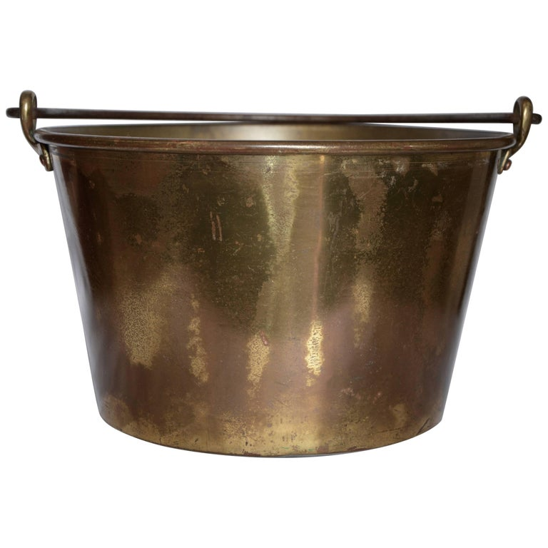 Midcentury Brass Bucket with Handle from France