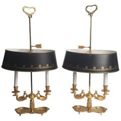 Pair of Gilt Brass and Tole Bouillotte Lamps