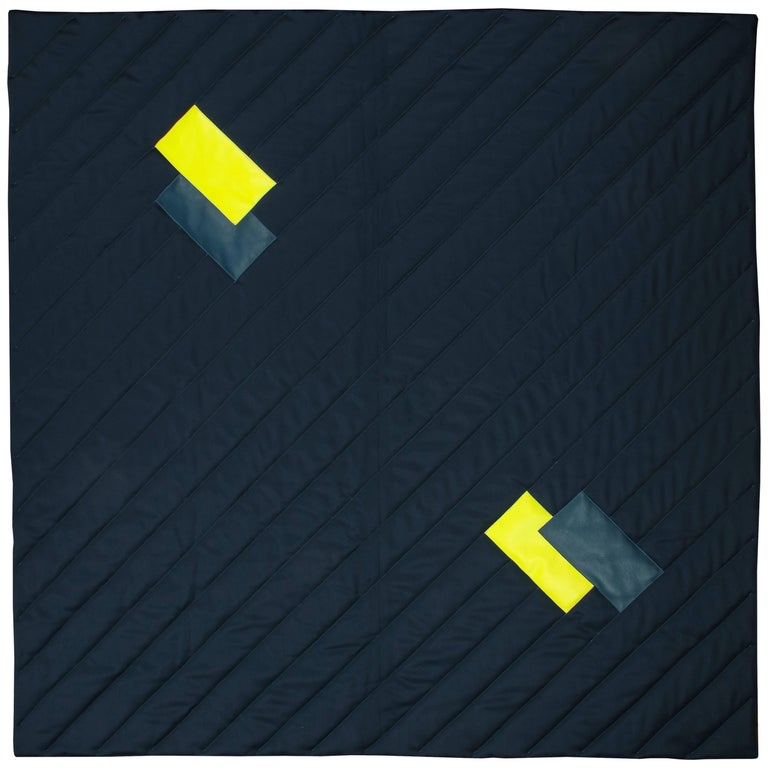 Three Quilt Collection Leather and Wool by Rafael De Cardenas & Mel Ottenberg  For Sale