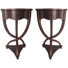 Pair of Bent Wood Walnut Tables