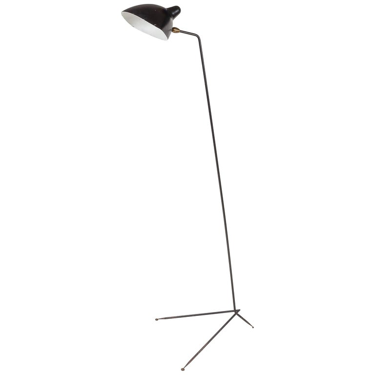 Serge Mouille Single Shade Floor Lamp for Altelier Serge Mouille, France, 1950s
