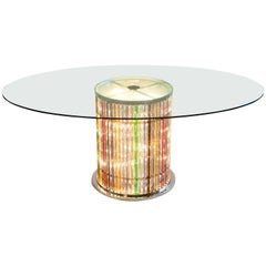 Italian Murano Glass Dining Table with Lights in the Stem, Limited Edition