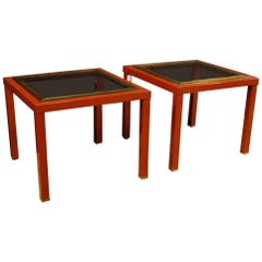 Pair of Italian Design Coffee Tables in Metal with Glass Top from 20th Century