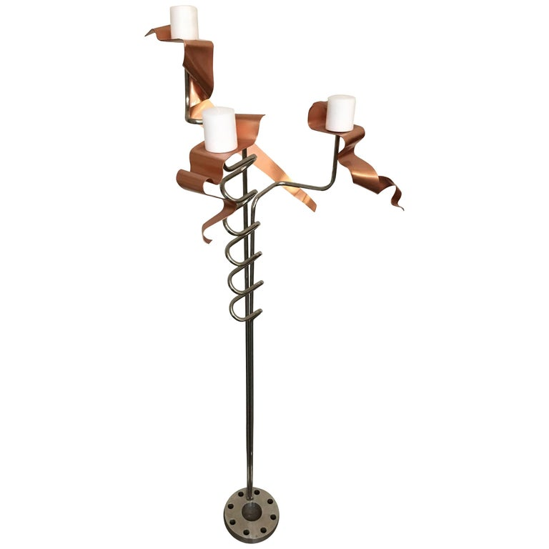 Abstract Metal Art Sculpture Chrome Candelabra, Signed