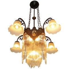 French Art Nouveau & Art Deco Clear Glass Straws Fringe Bronze Chandelier