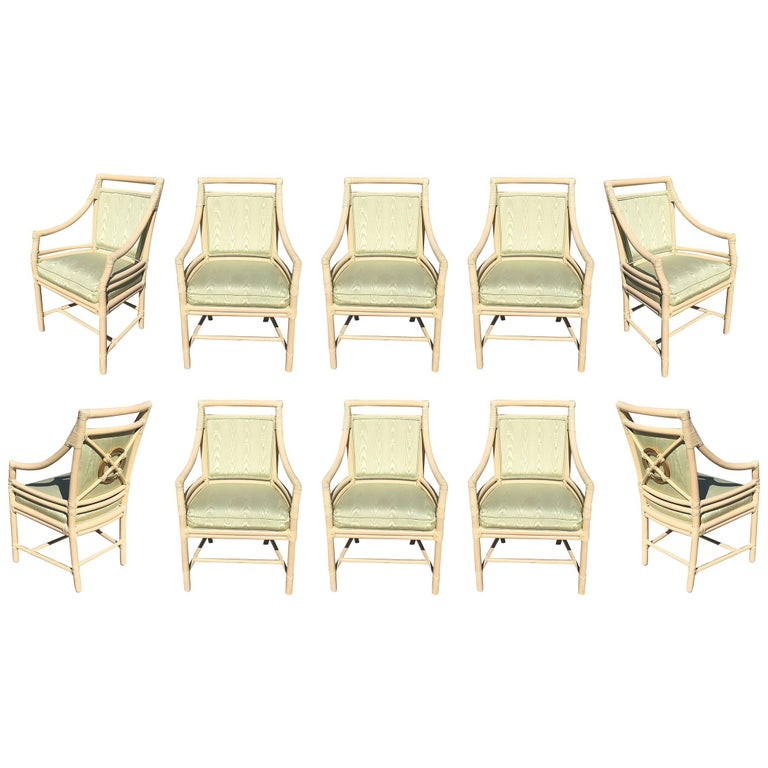 "Leather Wrapped ""Target Back"" Lounge Chairs by McGuire, Set of Ten"