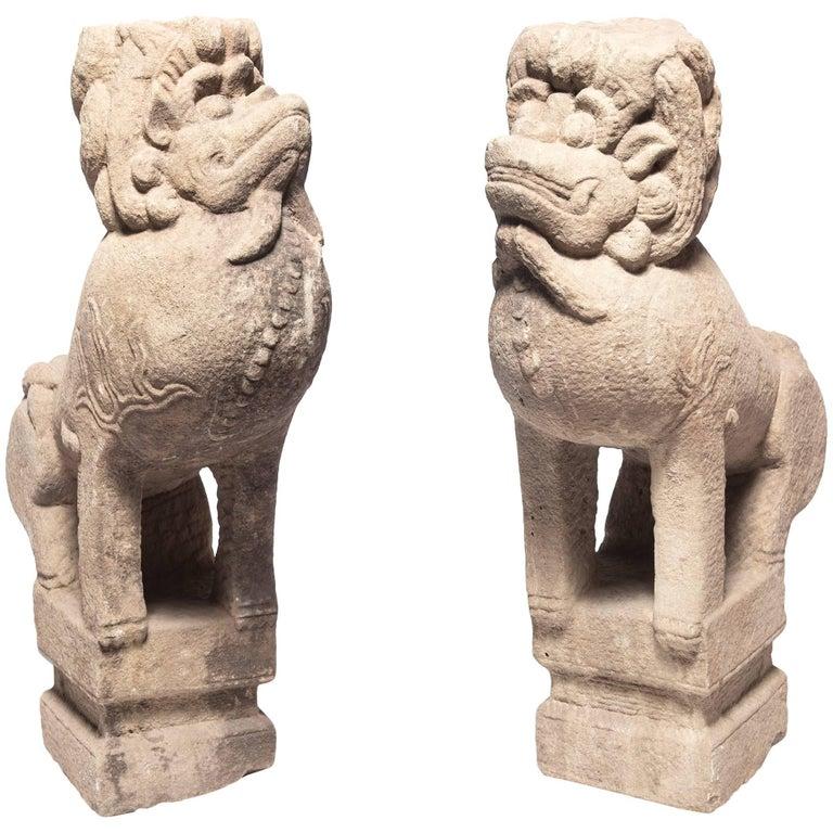 Pair of 18th Century Chinese Stone Fu Dogs