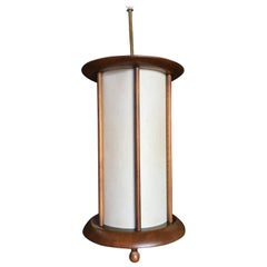 Danish Style Mid-Century Walnut Cylinder Pendant **Saturday Sale**