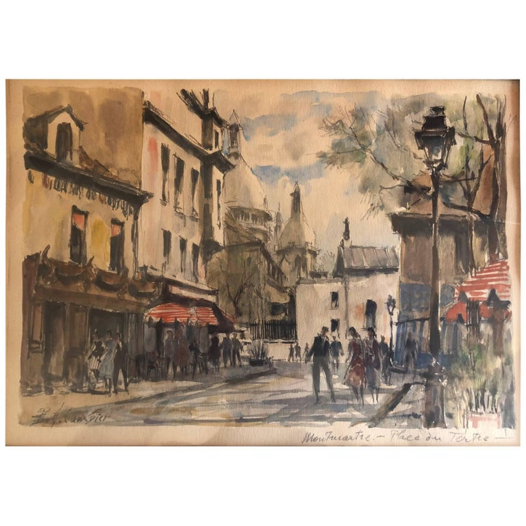 Paris Street Scene Watercolor by Pierre Eugene Cambier For Sale