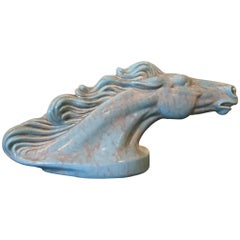 Midcentury Blue Ceramic Horse Head