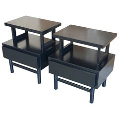 Pair of 1950s Ebonized Nightstands by American of Martinsville