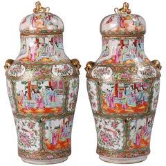 Pair of Chinese Rose Medallion Lidded Vases