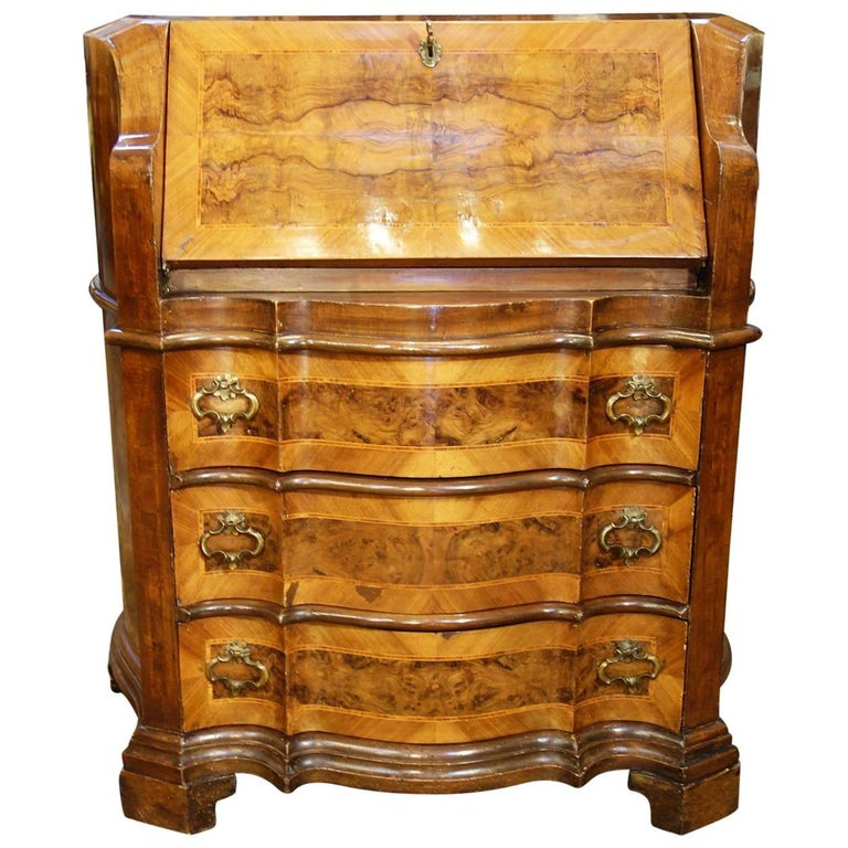 Late 19th Century Italian Walnut Burl Inlaid Louis XIV Secretary Drop Leaf Desk