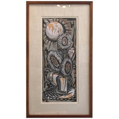Abstract Potted Flowers Woodblock Print