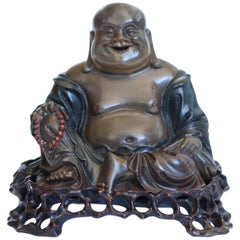 Chinese Lacquer Carved Wood Buddha by Du Hua of Foo Chow, circa 1900
