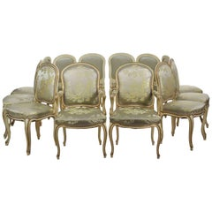 Set of 12 French Louis XV Style Painted Dining Chairs, Early 20th Century