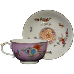 Meissen Cup and Saucer with Purple Ground