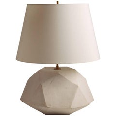 'Geode' Geometric White Ceramic and Brass Table Lamp
