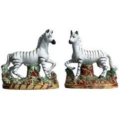 Pair of Staffordshire Zebra Figures, circa 1870