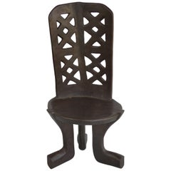 Rare Ethiopian Three-Legged Coptic Chair with Carved Crosses in Back Slat