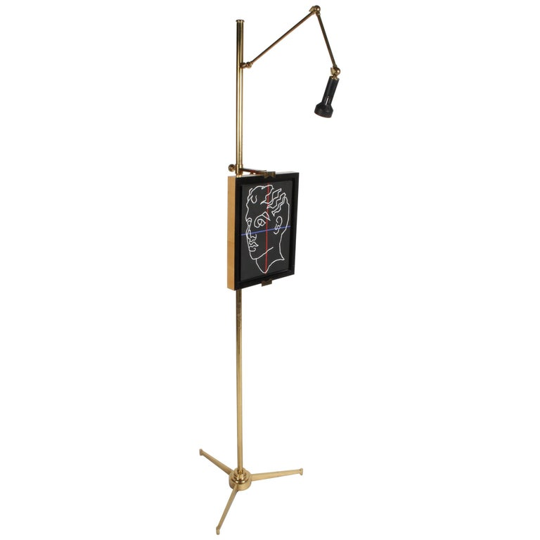Arredoluce Brass Art Easel with Lamp by Angelo Lelli For Sale